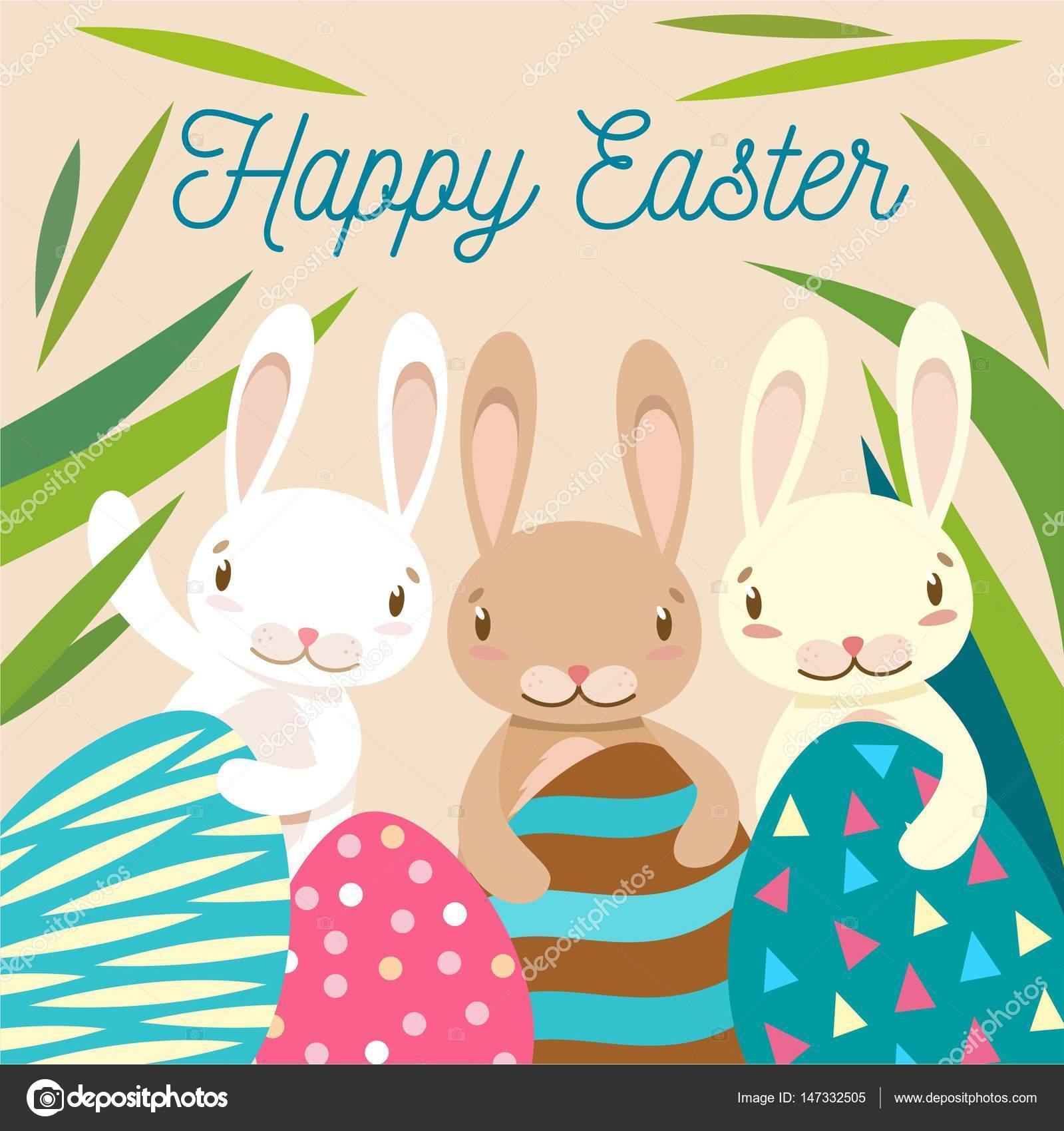 Frohe Ostern Bemalten Eiern Niedliche Abbildung Stockvektor