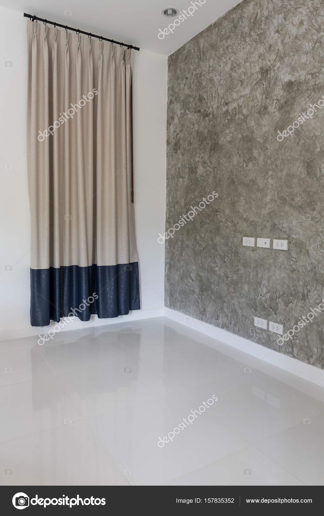 Dos tonos grises y azules cortinas de fondo de la habitación moderna blanca  — Fotos de d8e25b09b7e7