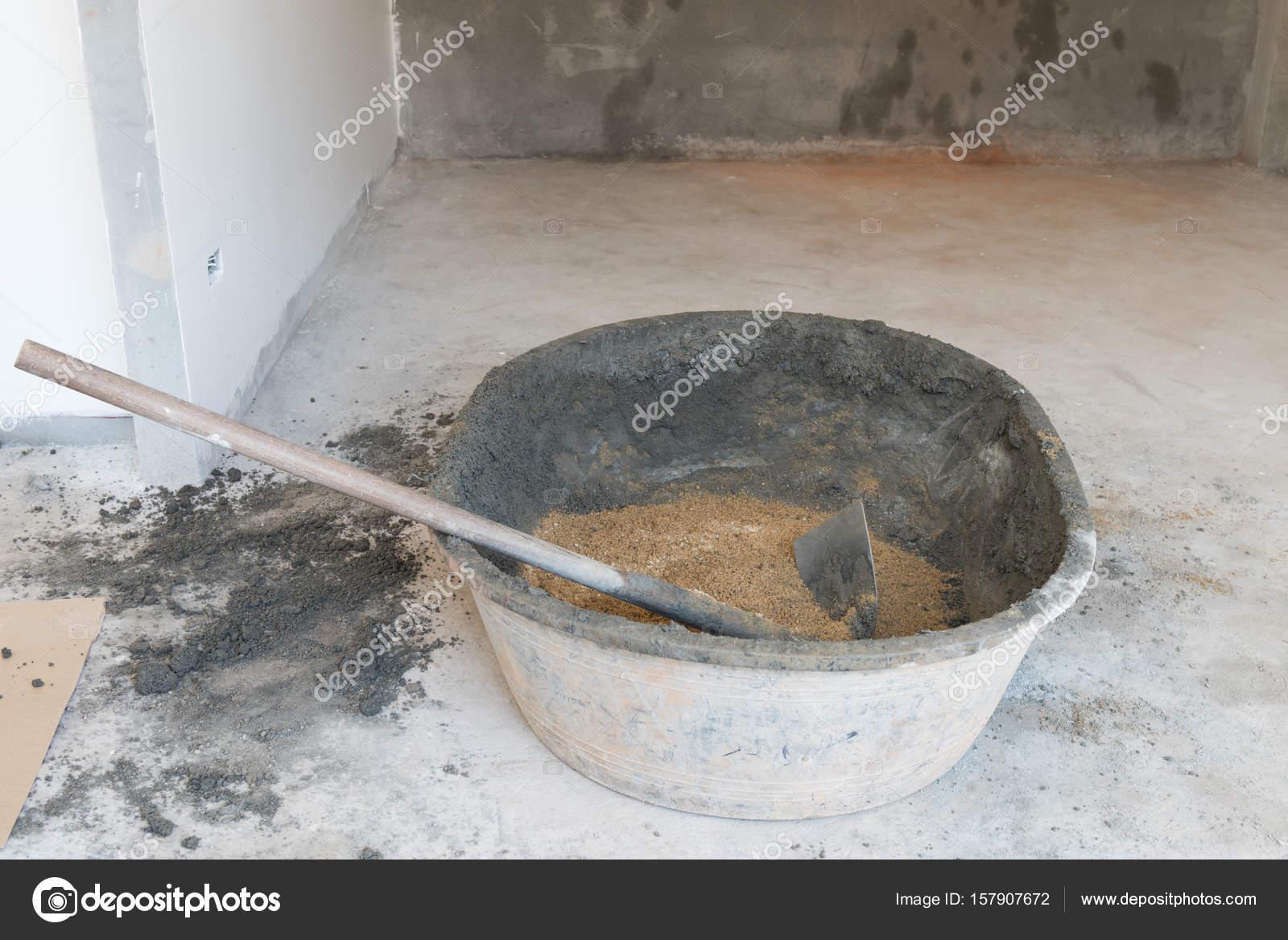 blandning cement och sand