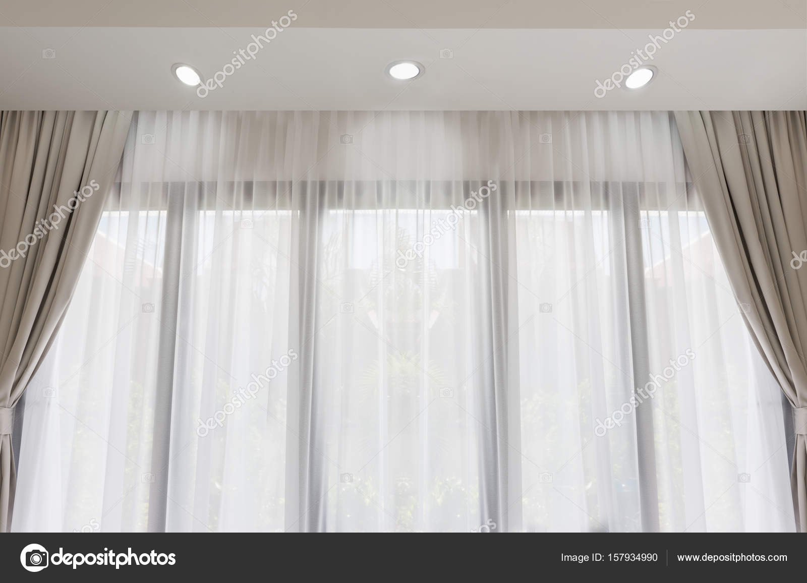 Modern Living Room With Soft White And Grey Curtain Background Stock Photo Image By C Jcsmilly 157934990