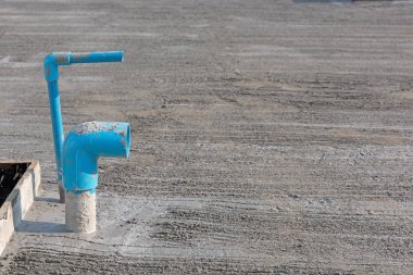 Blue pvc wate pipe at construction site industry