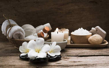 Spa and  aromatherapy products on wooden background,retro effect