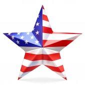 Lesklé hvězda s vlajkou Usa - 3d vykreslování