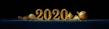 2020 in sparkling gold numbers celebrating the New Year or Chris