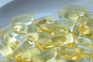 Dietary supplement pill macro view medical background