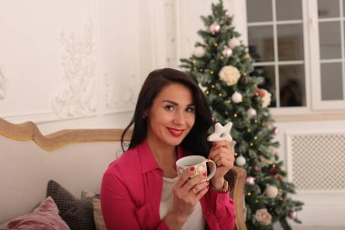 flirting young woman festive dazzlingly elegant look