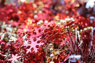 New Years shiny flickering beads,christmas vibrant decor details macro photo bokeh lights
