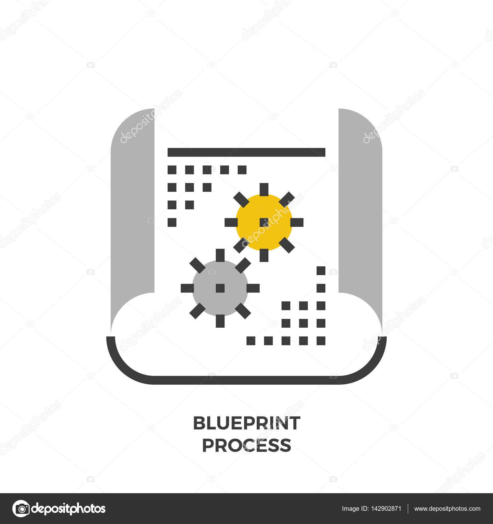 Blueprint process flat icon stock vector paradisestocks 142902871 blueprint process flat icon stock vector malvernweather Gallery