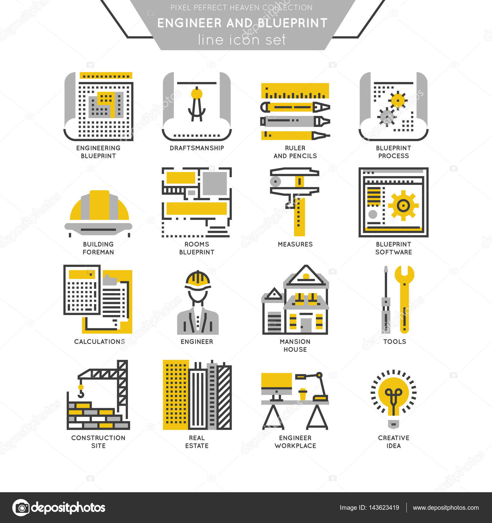Blueprint and engineer line icon set stock vector blueprint and engineer line icon set stock vector malvernweather Gallery