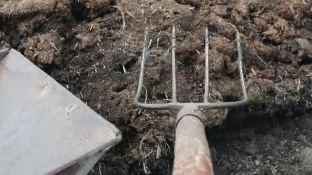 Člověk načte organické hnojivo v trakaři na svém vlastním hospodářství. Manuální práce