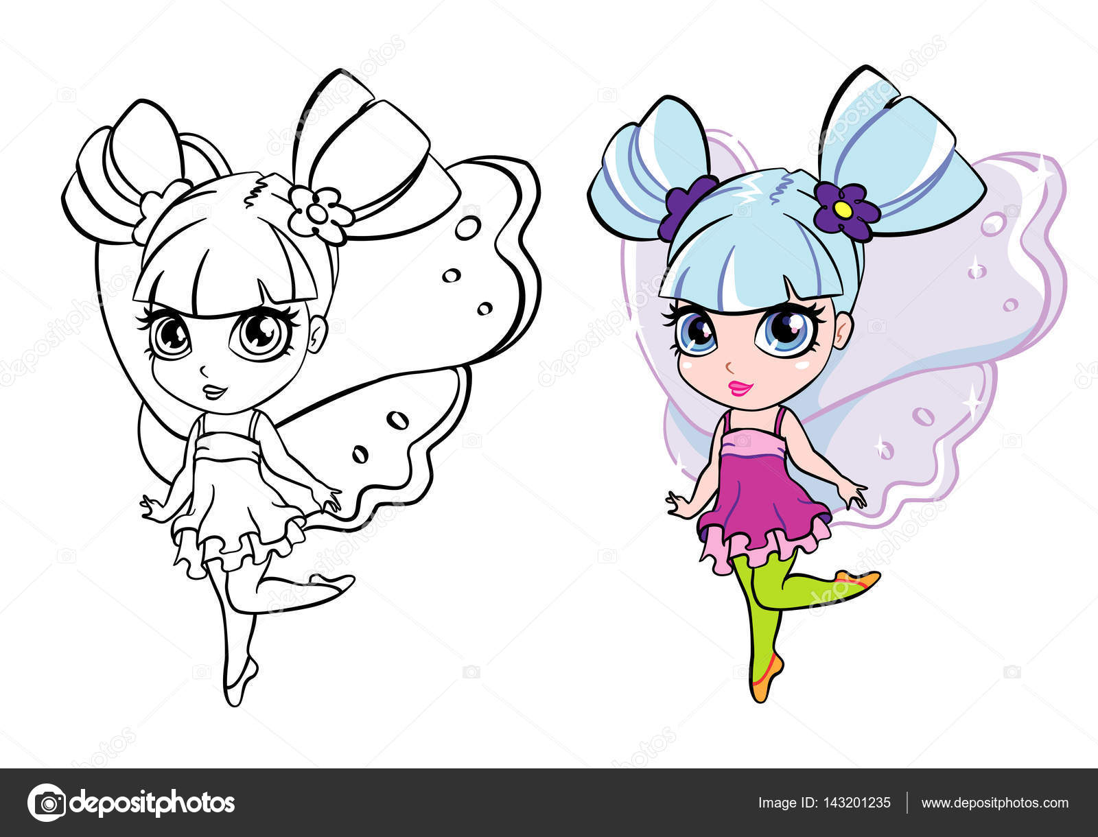 vector colourful elf fairy girl with coloring page — Stock Vector ...
