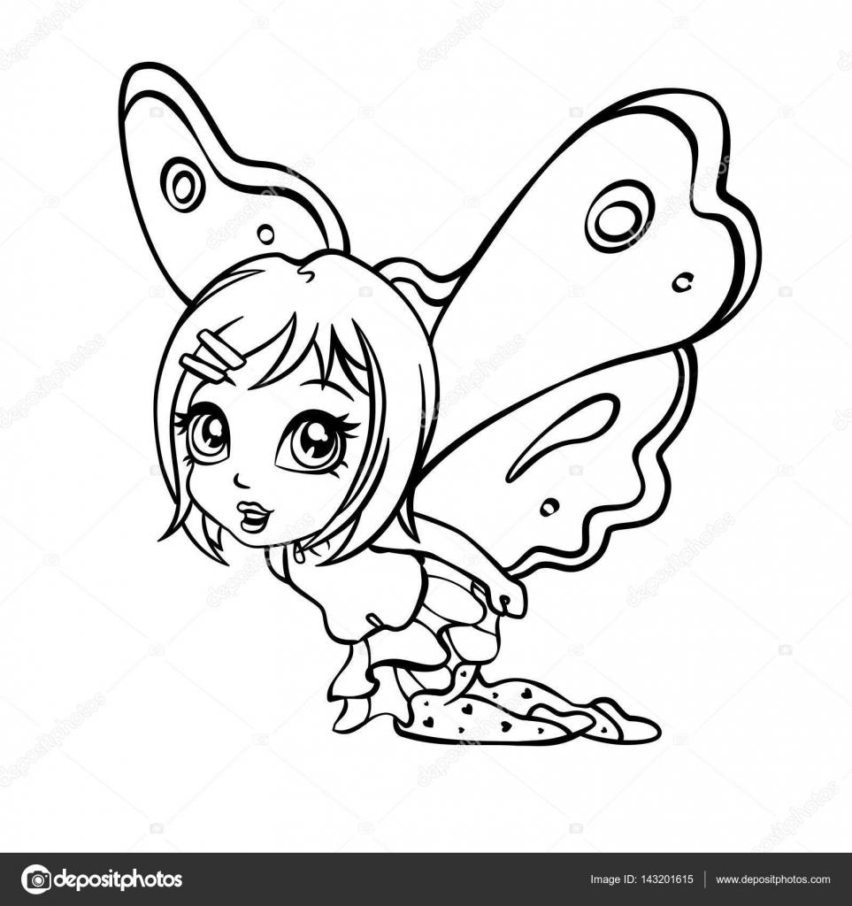 Vector doodle ilustración de niña de hadas elfos — Vector de stock ...