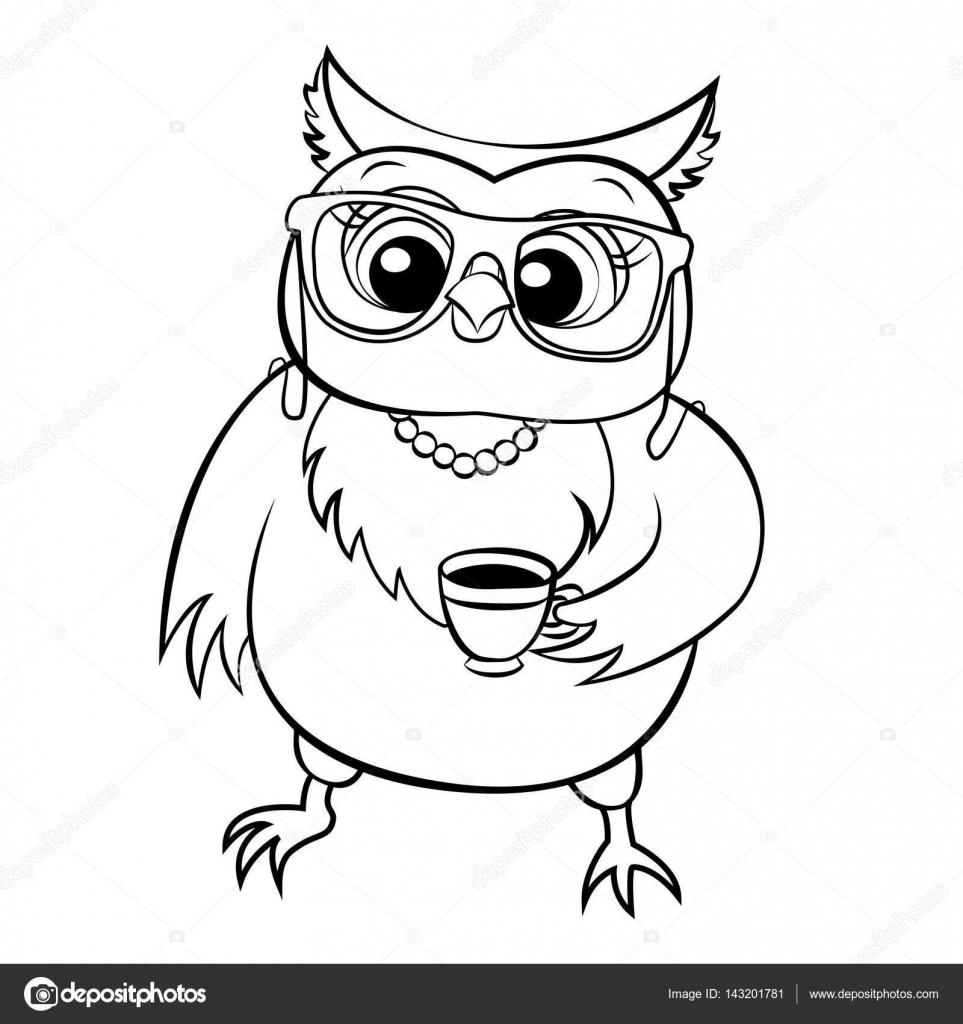 Vektör Baykuş Boyama Gözlük Stok Vektör Sunnyws 143201781