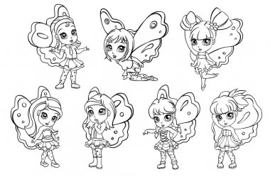 vector doodle elf fairy girl set