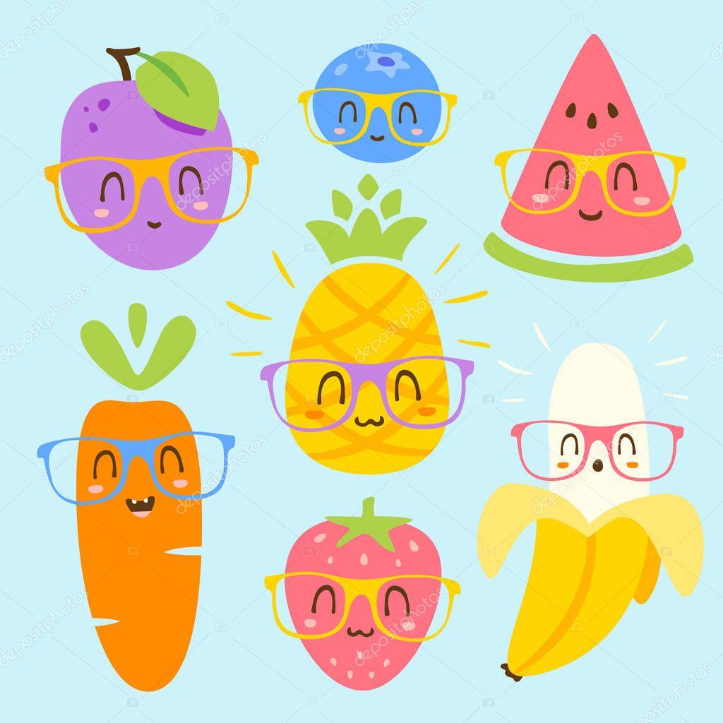 vector cartoon fruits in glasses set