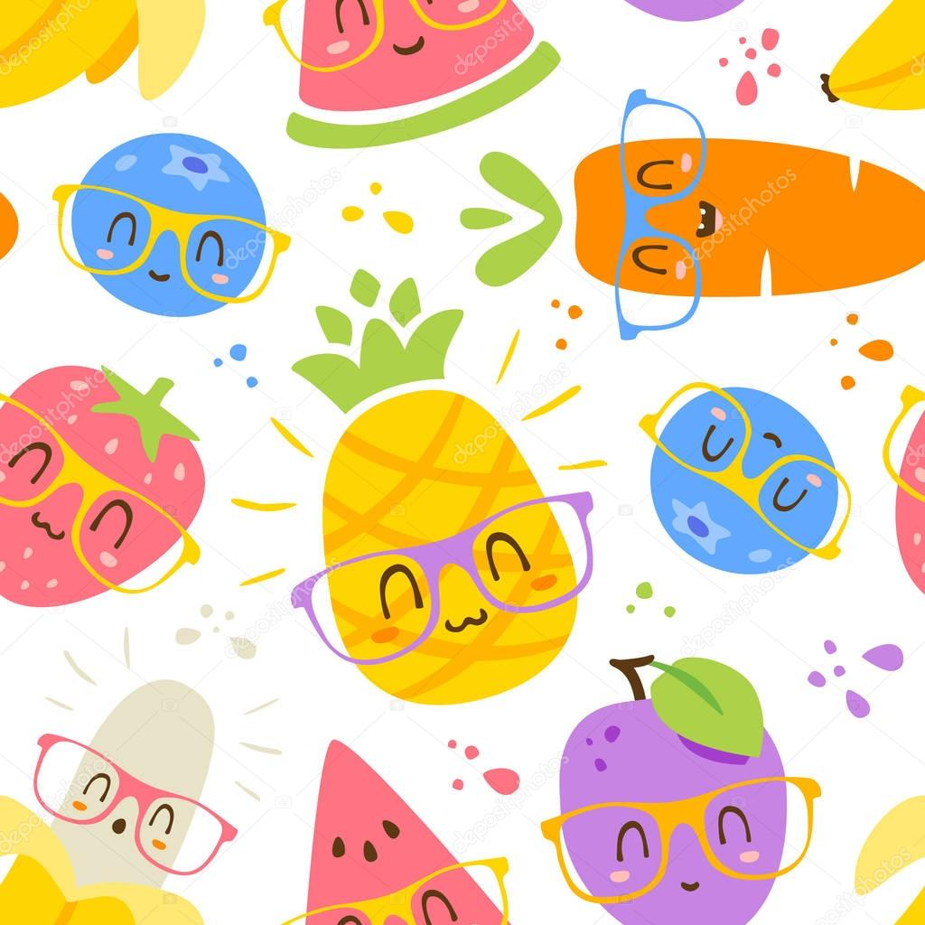 vector cartoon fruits in glasses seamless pattern