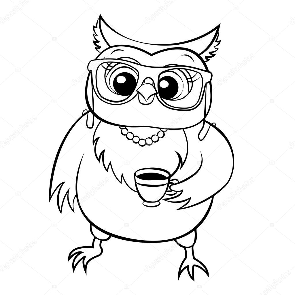 vector owl in glasses coloring