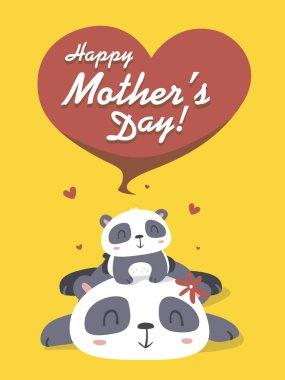 vector cartoon panda mother's day greeting card