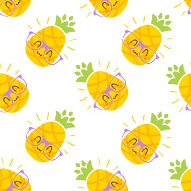 vector cartoon pineapple in glasses pattern