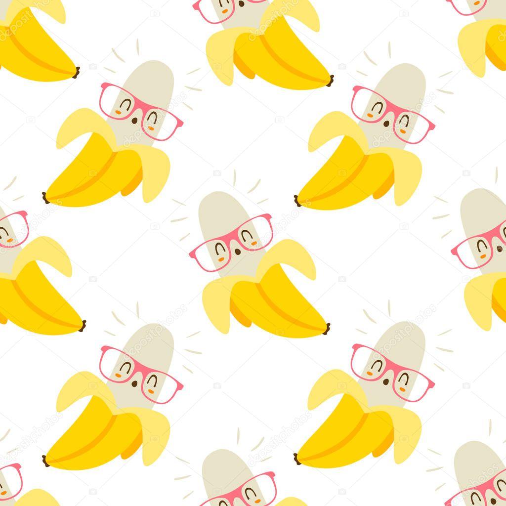 vector cartoon pineapple in glasses pattern