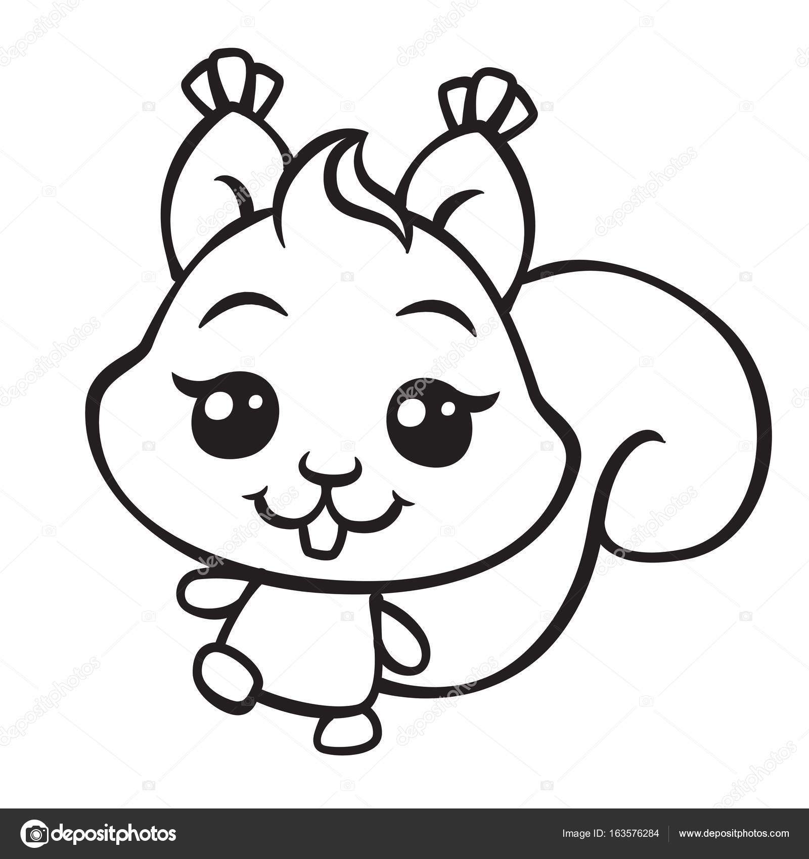 cute squirrel coloring page illustration — Stock Vector © sunnyws ...