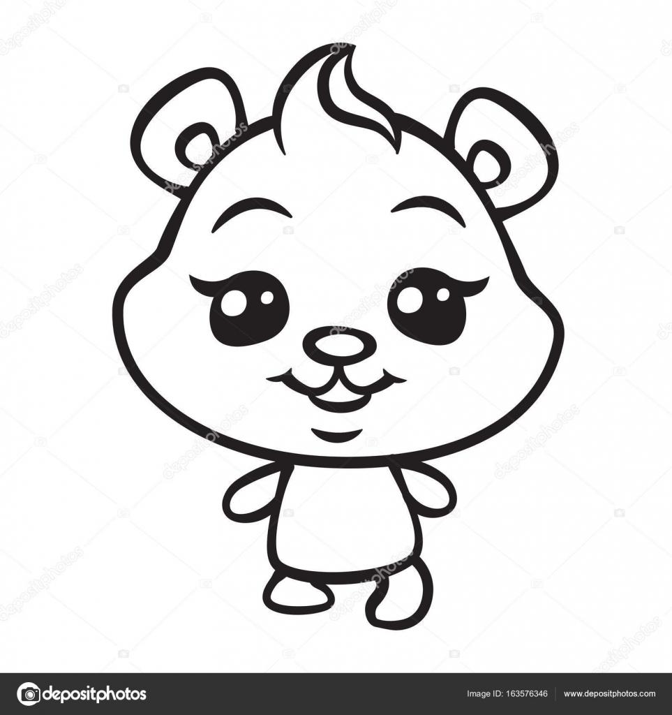 lindo oso para colorear ilustración de la página — Vector de stock ...