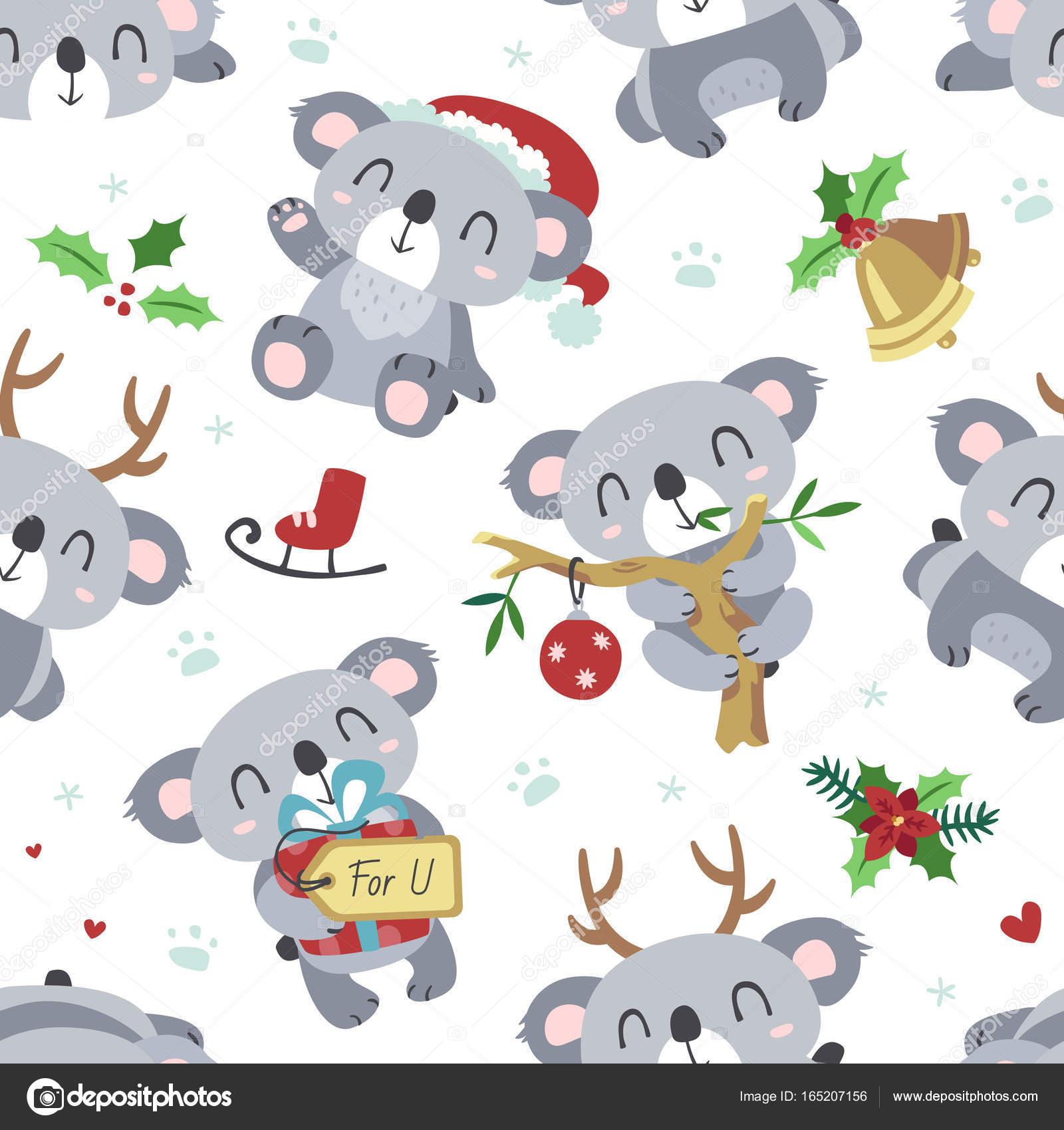 Vector de dibujos animados koala Navidad kawaii blanco de patrones ...