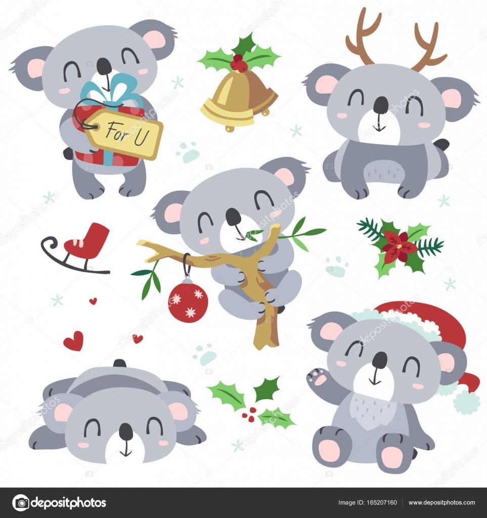 Vector de dibujos animados koala Navidad kawaii set — Archivo ...
