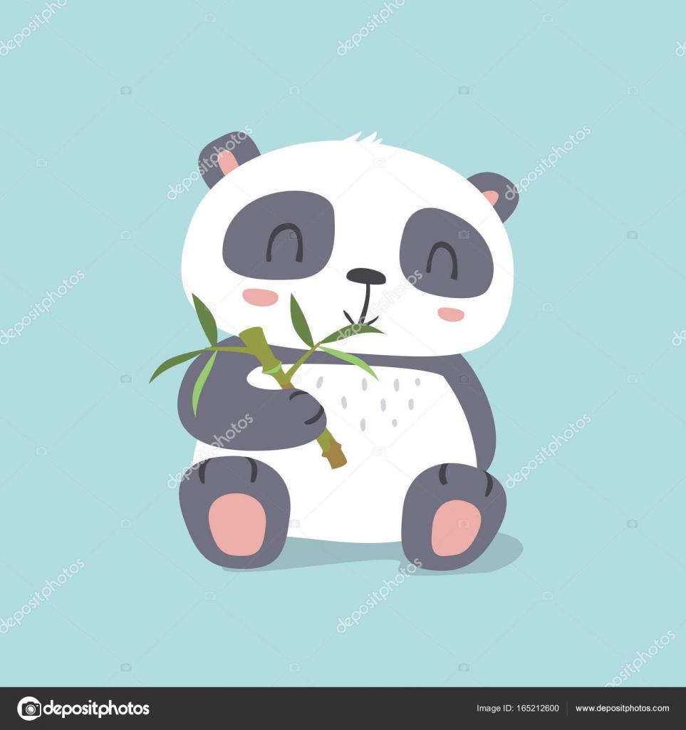Vecteur De Dessin Animé Kawaii Style Mignon Panda Mangeant