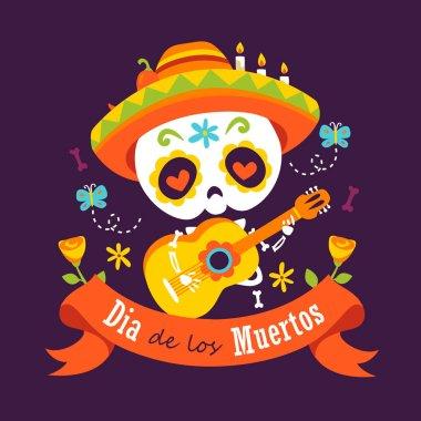 Vector cartoon style violet day of dead dia de los muertos music