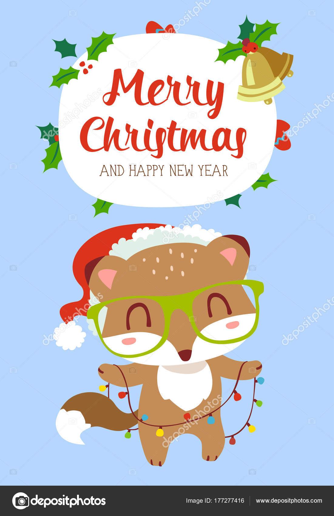 cartoon style winter christmas new year card brown fox glasses
