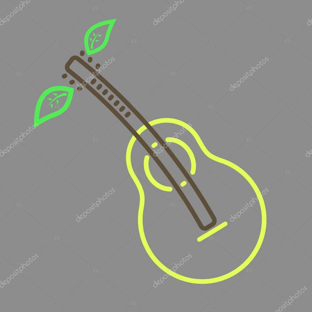 Outline vector pear guitar icon
