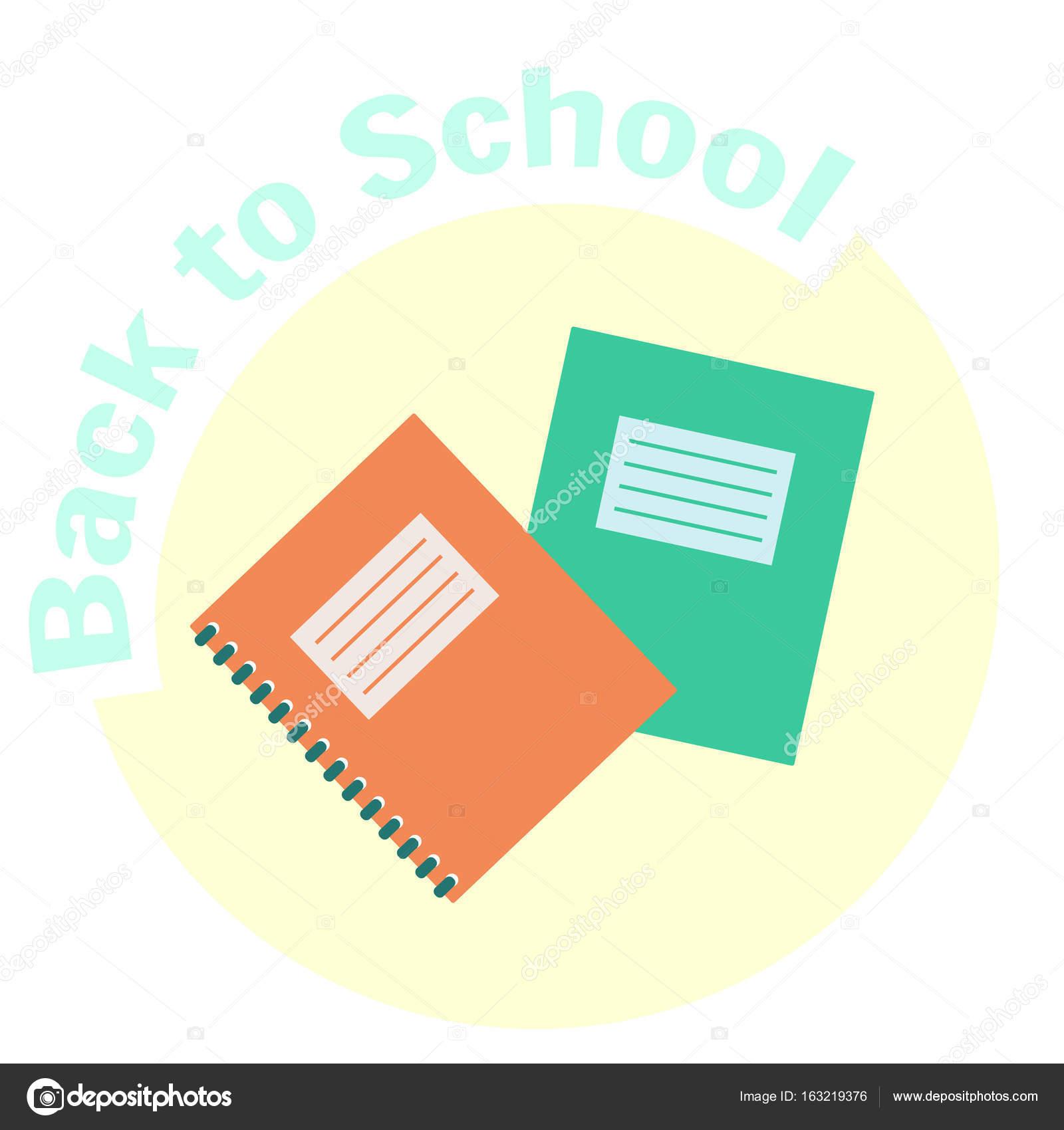 Ploché barevné vektorové kopie knihy a cvičebnice — Stock Vektor ... 61effba615