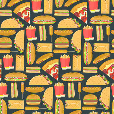 Bright colorful fast food seamless pattern on dark background