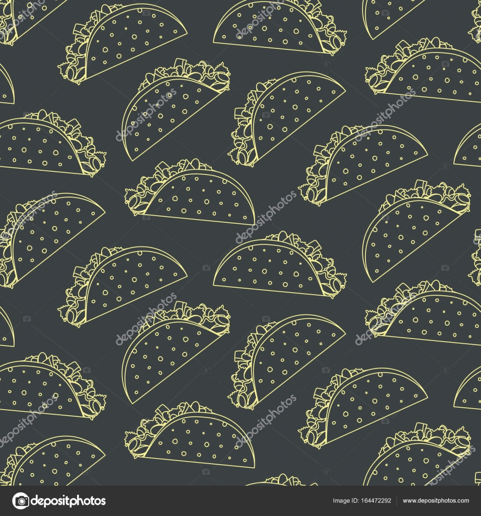 Seamless pattern with mexican fast food outline taco on black