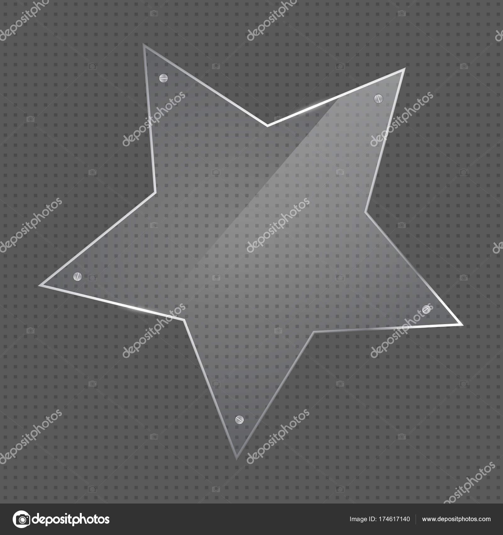 Marco de cristal de forma de estrella de vector con clavos — Archivo ...
