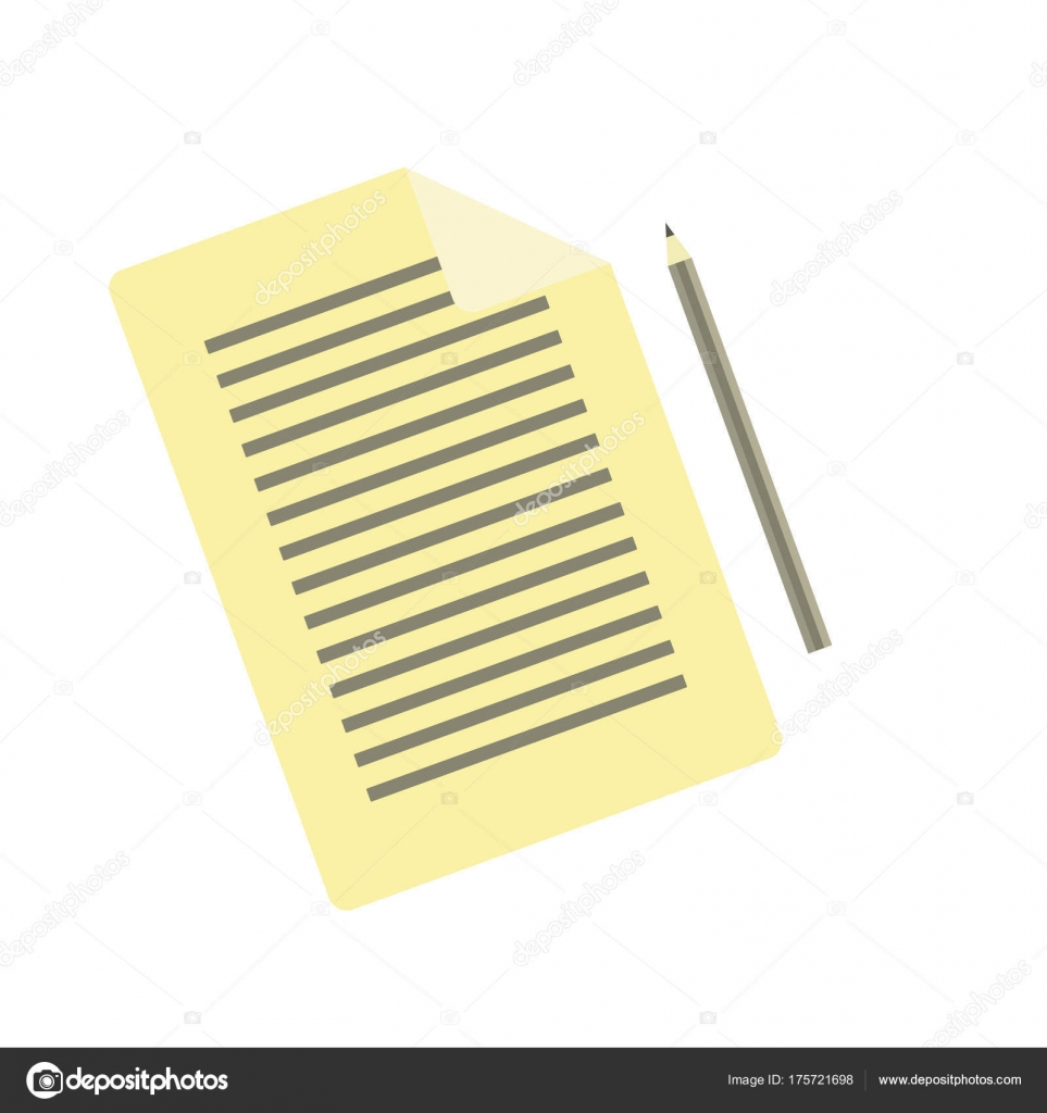 simple flat vector pencil and document icon stock vector