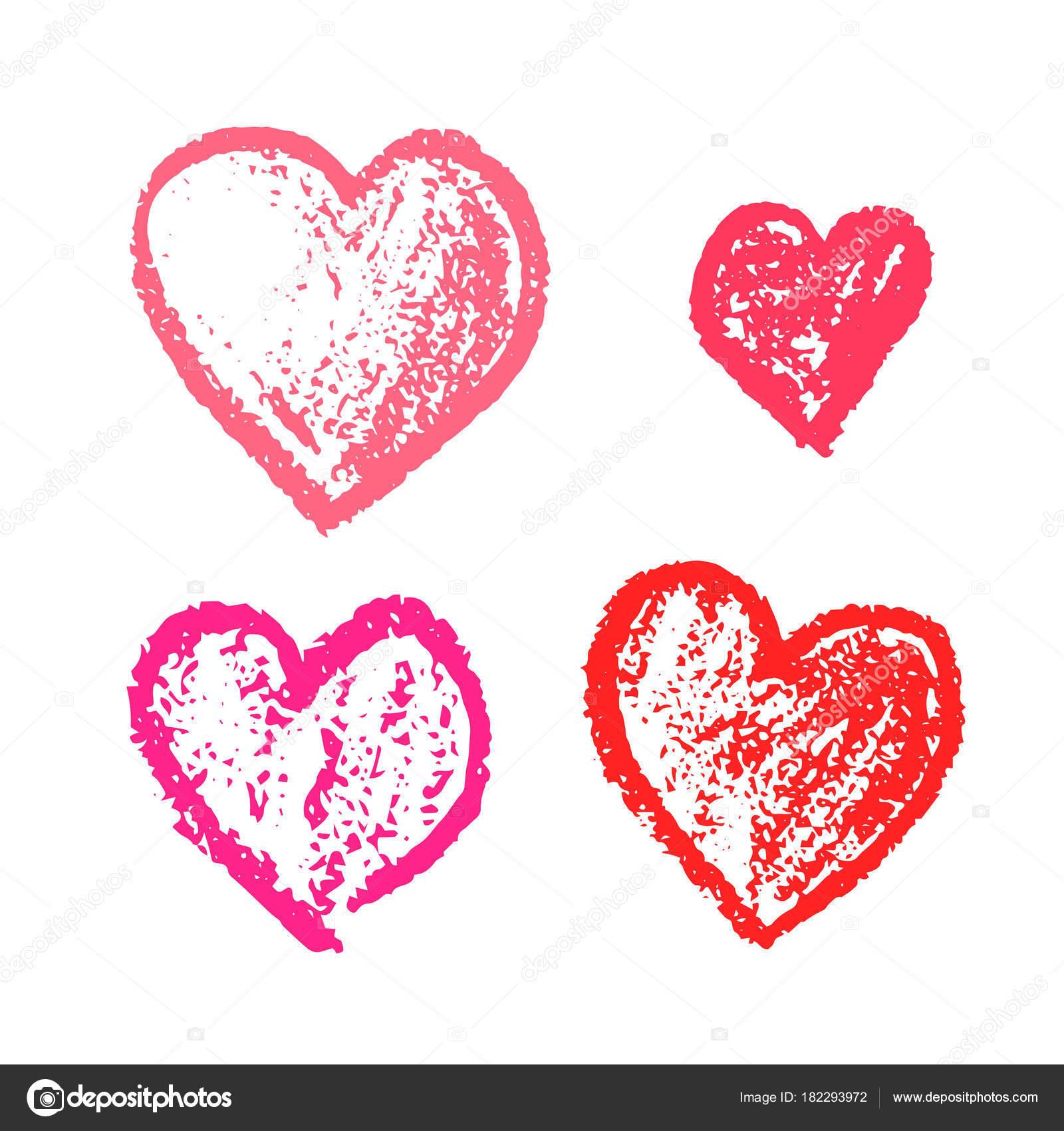 Conjunto de lindo corazón Rosa dibujado grunge de la mano — Archivo ...