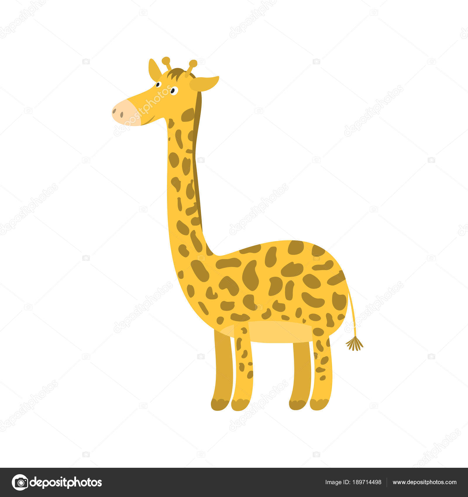 Cute dibujos animados jirafa sonriente naranja cuello largo — Vector ...