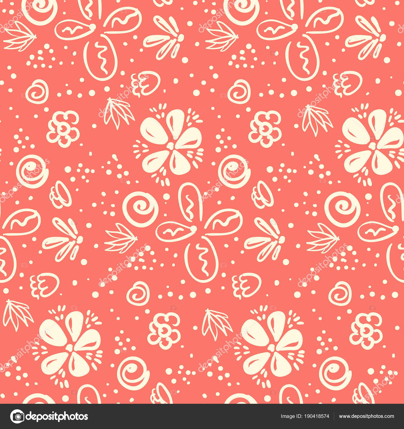 Tender Peach Color Doodle Floral Pattern Stock Vector