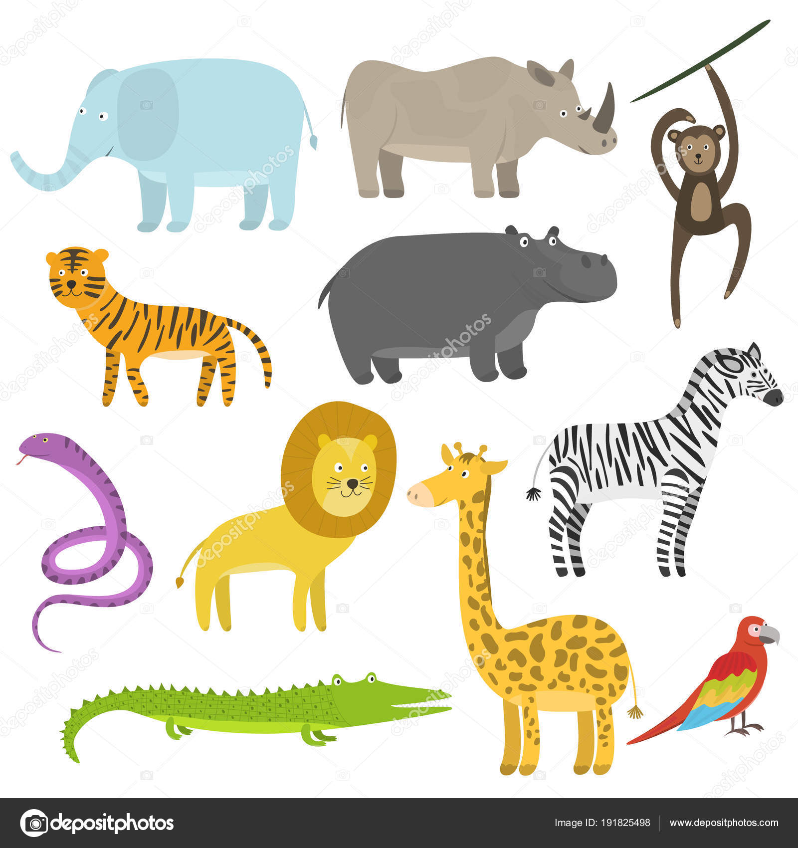 Conjunto de dibujos animados lindo piso tropical y animales de la ...
