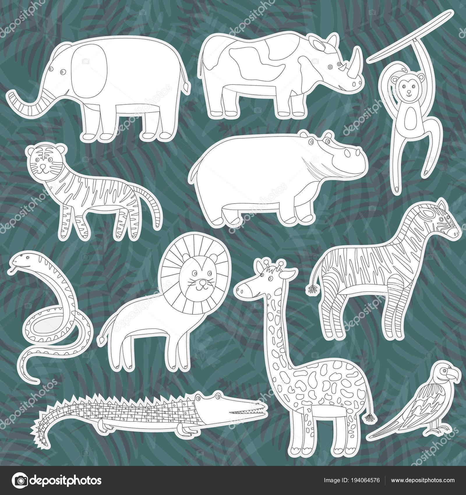 Contorno De Animales De La Selva Pegatinas De Dibujos Animados