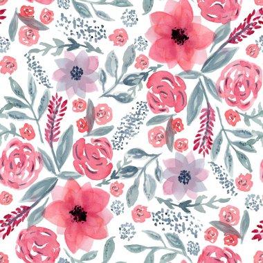 """Картина, постер, плакат, фотообои """"Beautiful pattern with mess of watercolor flowers"""", артикул 316935844"""