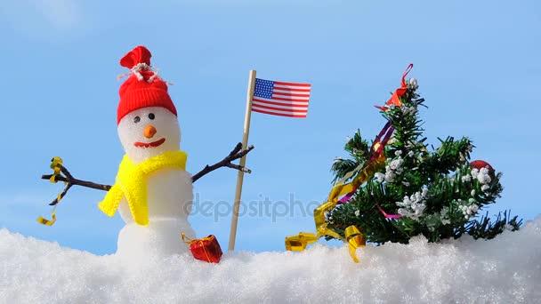 Boldog karácsonyi kártya, hóember, karácsonyfa, winter Park