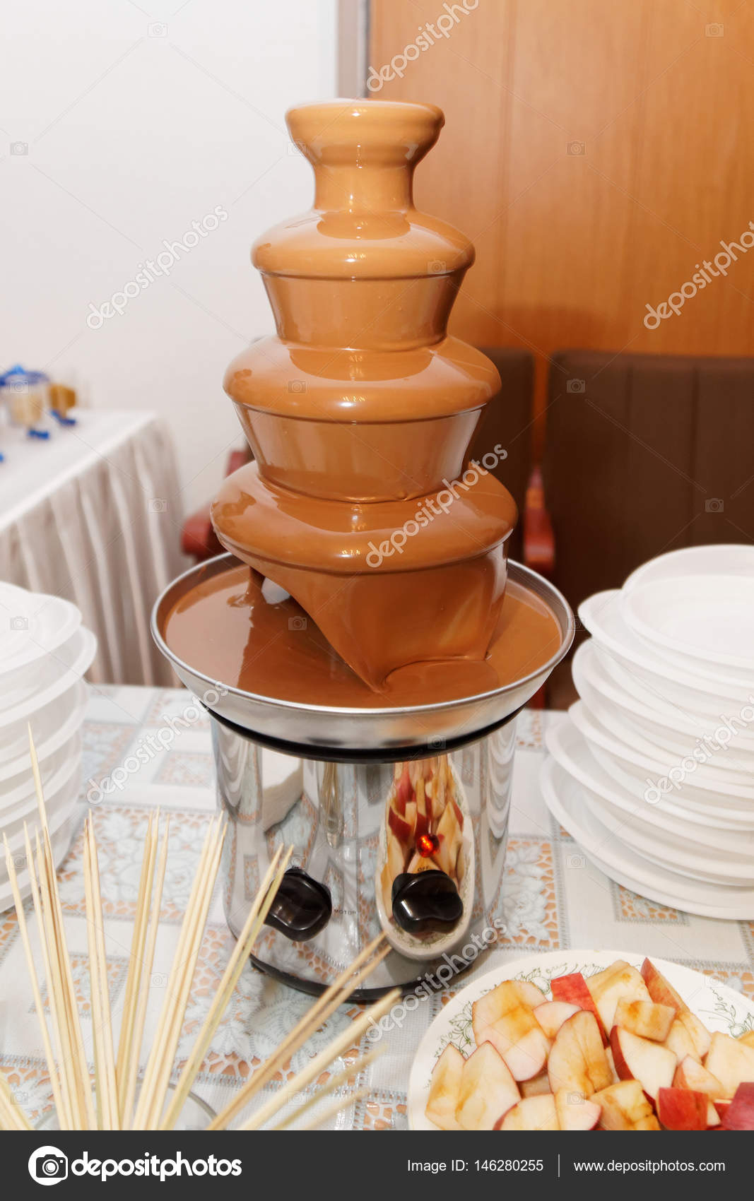 Decoration Of The Wedding Table Chocolate Fountain Stock Photo