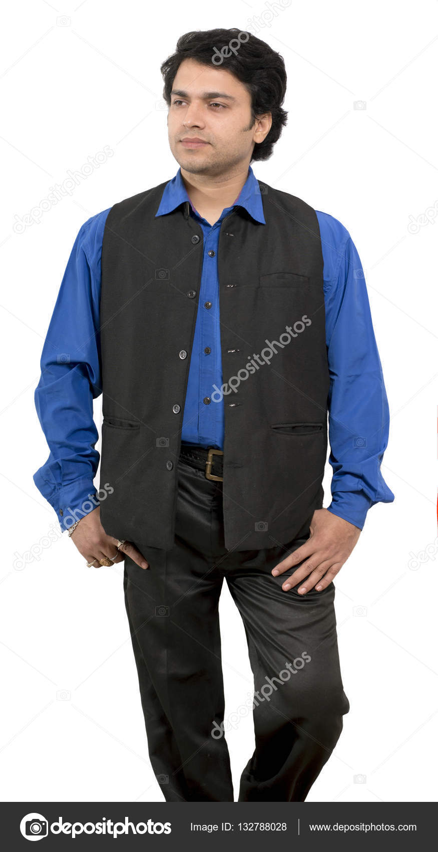 fc99d48ca2 indian male model wearing half indian jacket — Stock Photo ...