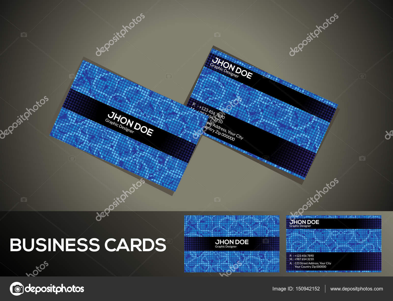 abstract artistic blue digital business card — Stock Vector ...