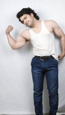Indian fitness model in white vest