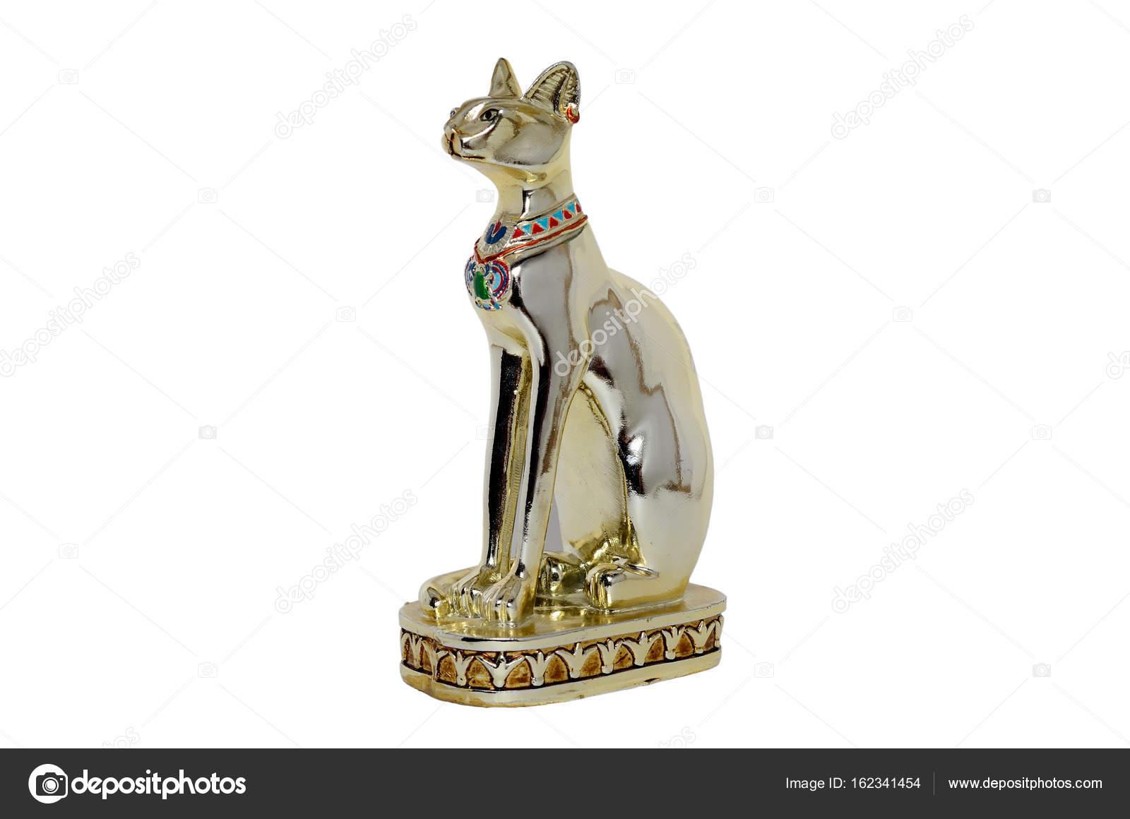 Egipcjanin Kot Figurka Białe Tło Zdjęcie Stockowe Oleksandrua