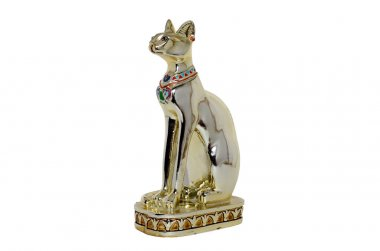 Egyptian cat figurine white background